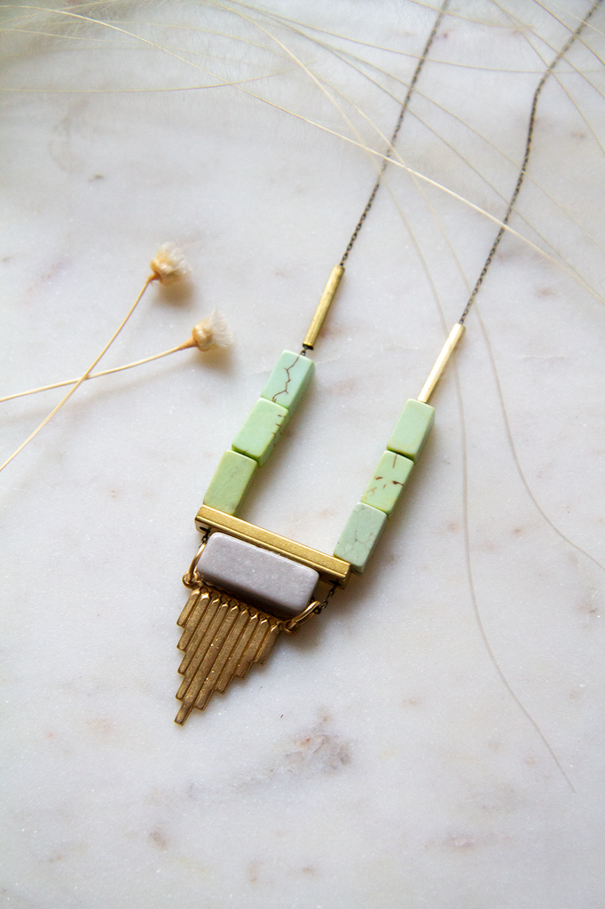 Magnesite Gray Marble Brass Detail Necklace