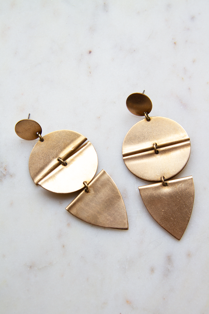 Brass Circular and Triangular Post Earring