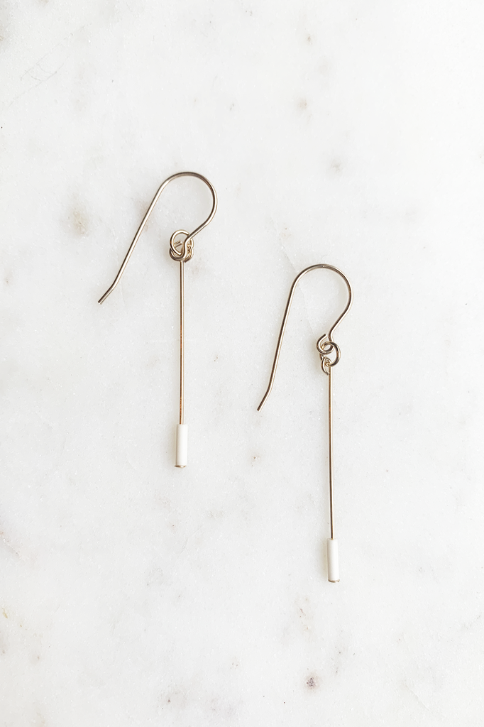 Cream Line Drop Earrings