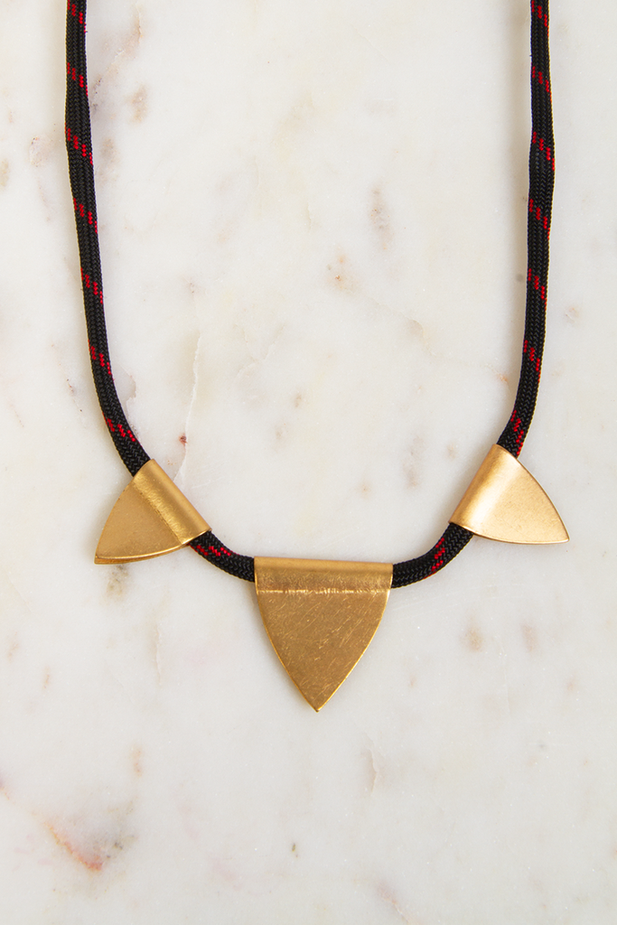 Three Brass Flag Necklace