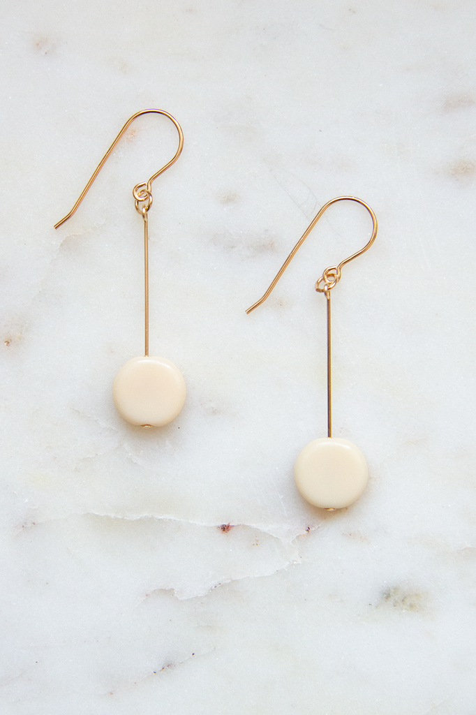 Cream Glass Bead Circle Drop Earrings