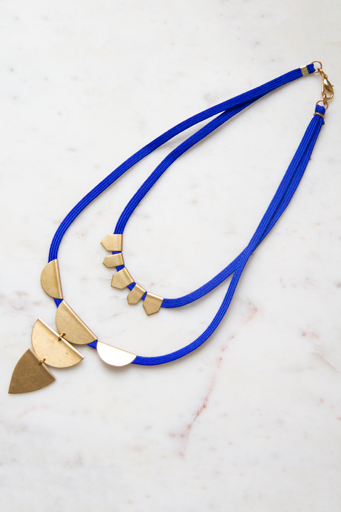 Cobalt Cord w Layered Brass