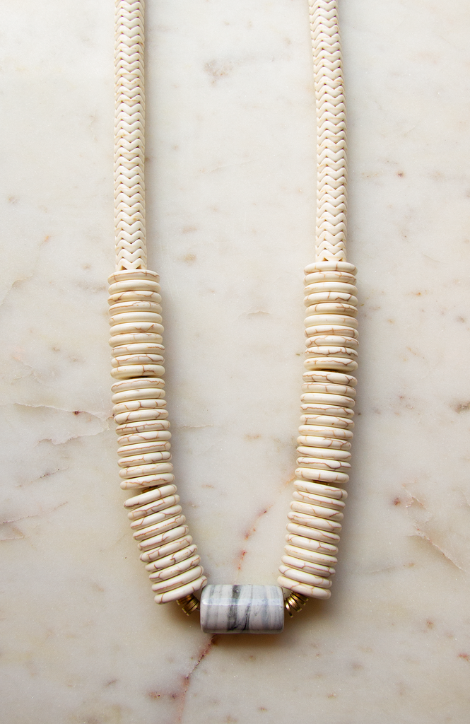 Cream Stacked Magnesite Necklace