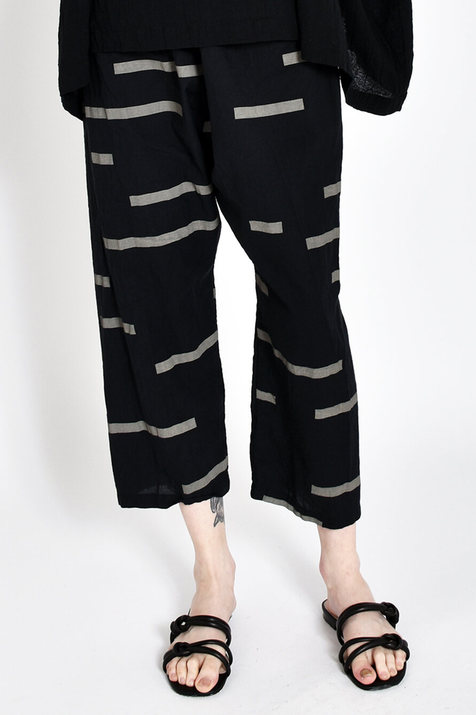 Printed Dropcrotch Pants in Broken Black