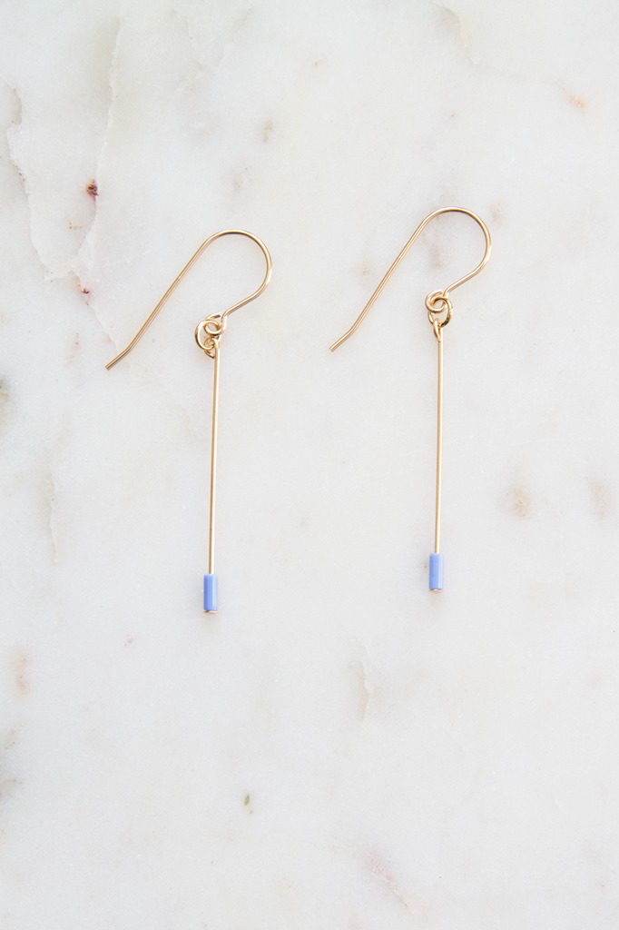 Periwinkle Line Drop Earrings