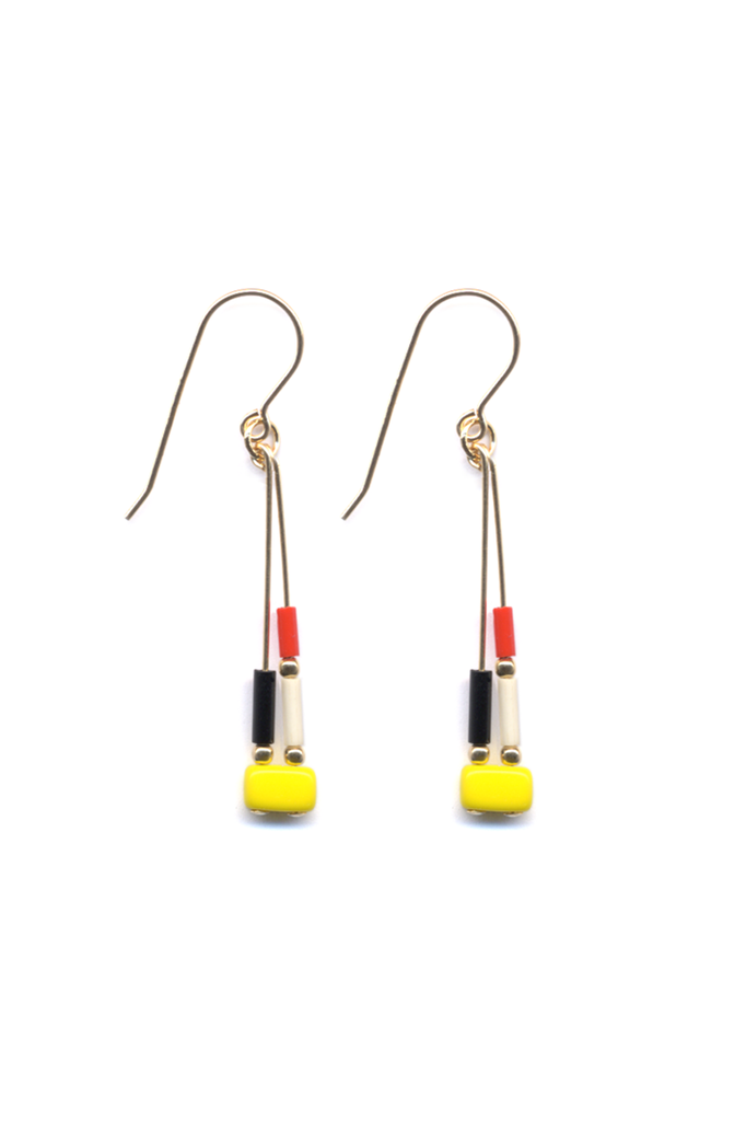 Yellow Mosaic Drop Earrings