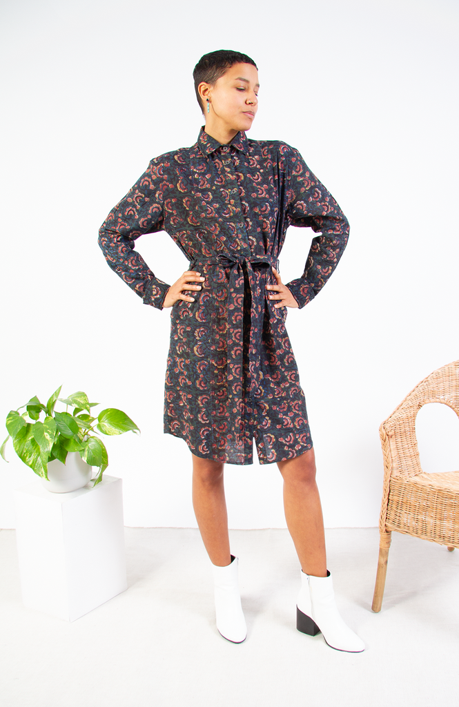 Block Printed Shirt Dress