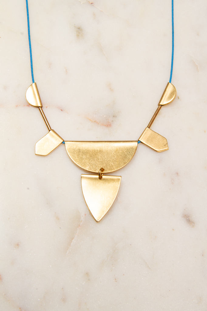 Adjustable Brass Tab Necklace