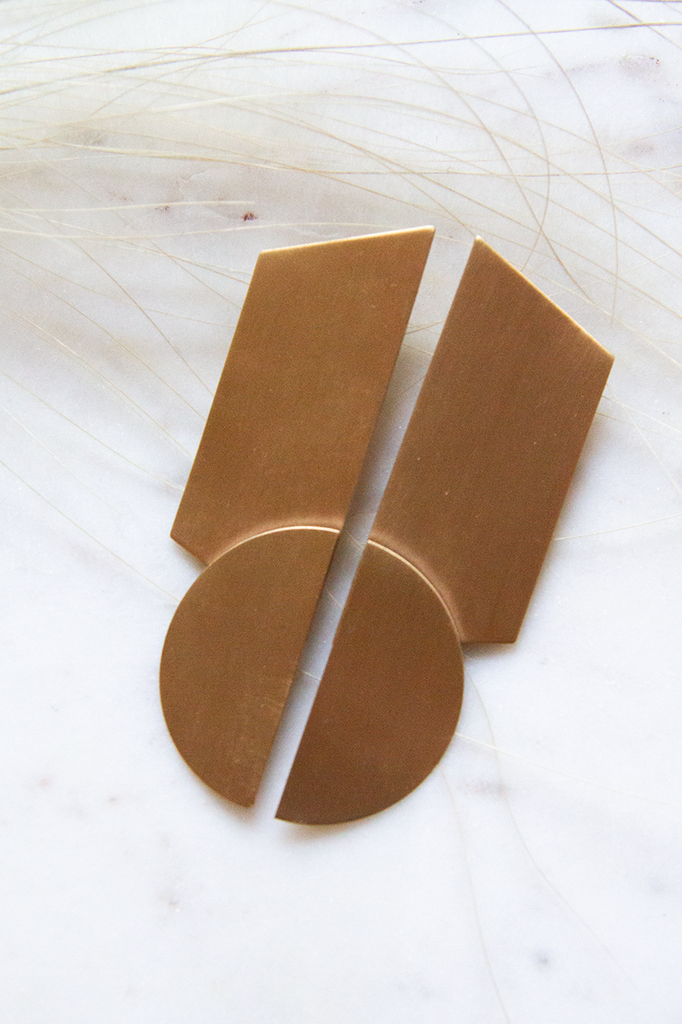Post Rhombus Half Circle Satin Brass Earrings