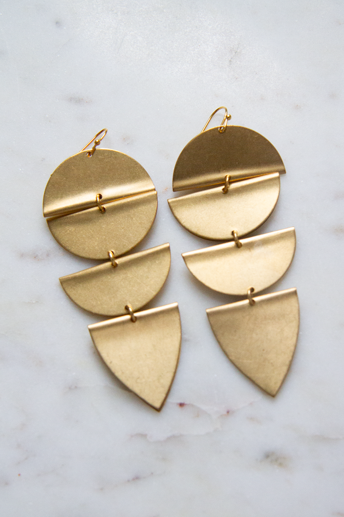 Geometrical Brass earrings