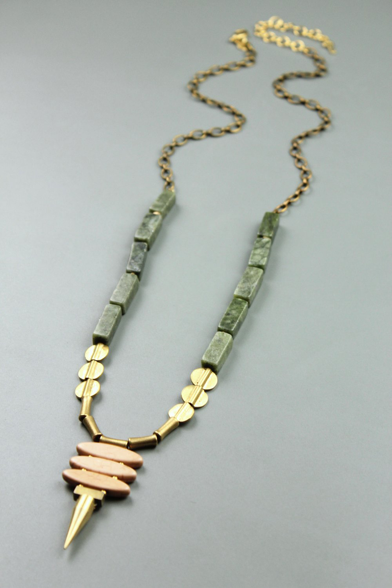 Agate and Magnesite with Brass Spike Necklace