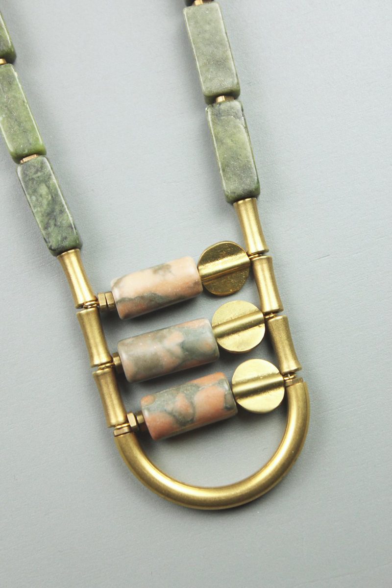 Mixed Jasper and Brass U Necklace