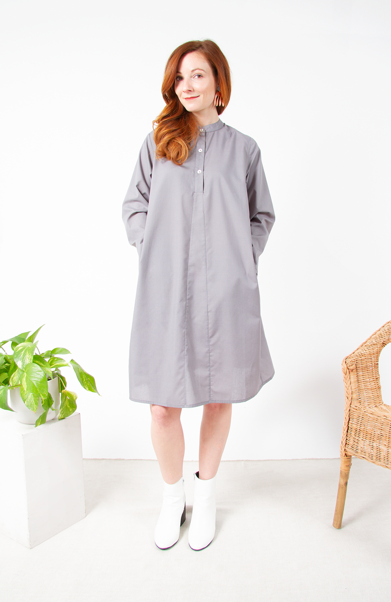 Cotton Poplin Amma Long Sleeve Dress