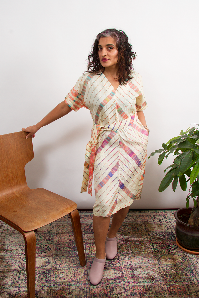 Aparna Dress with Sash in 9-Time Leheriya