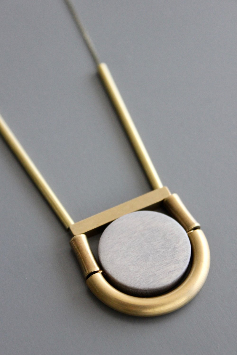 Brass and Wood Disk Necklace
