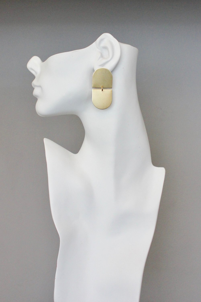 Oval Drop Brass Earrings