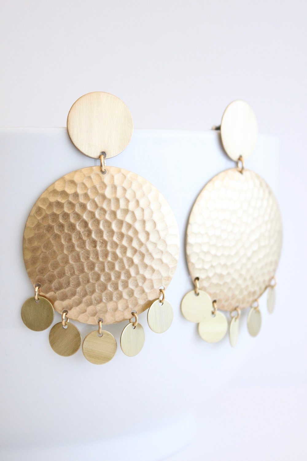 Satin Brass Disk Earrings