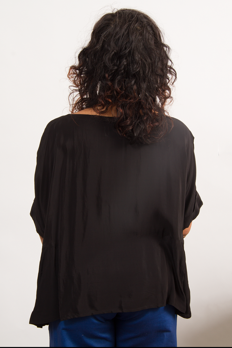 Box Pleat Top in Cupro