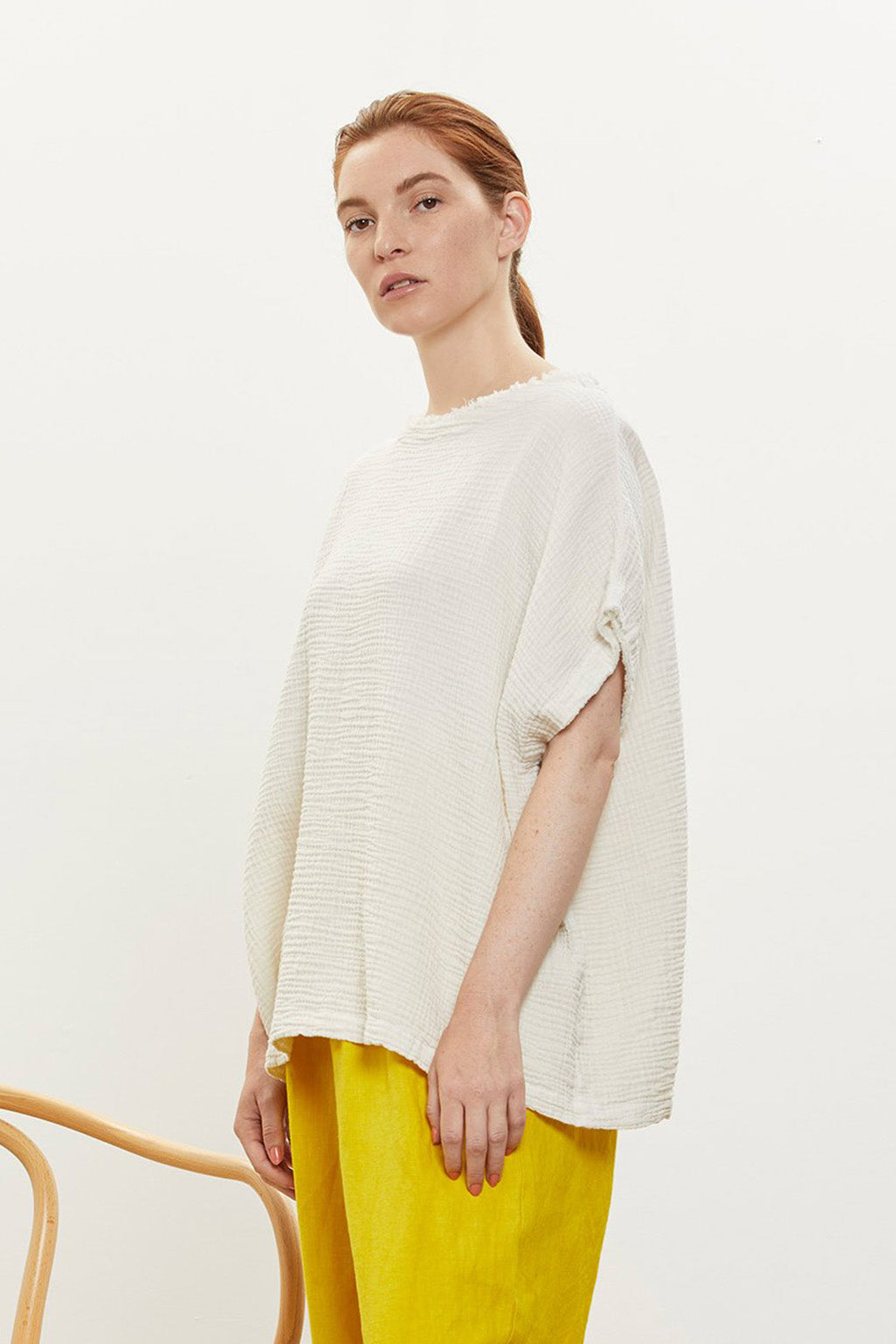 Double Gauze Top in Cotton, Cream