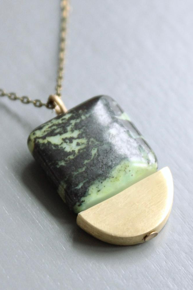 Zoisite and Brass Half Moon Pendant Necklace