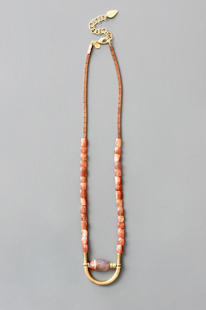 Sunstone Beaded Necklace with Moonstone Pendant