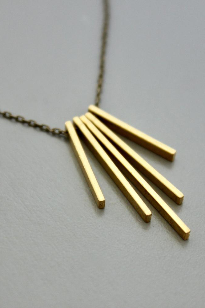 Mini Brass Bars Necklace