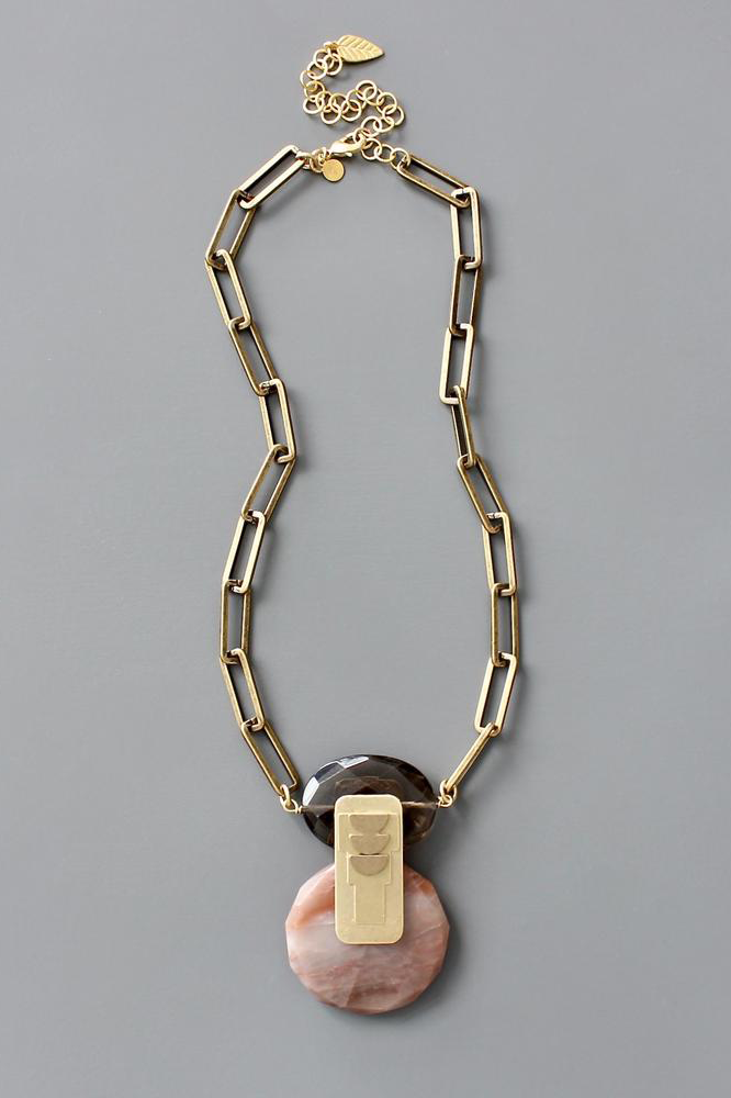 Chunky Paperclip Chain with Smoky Quartz Necklace