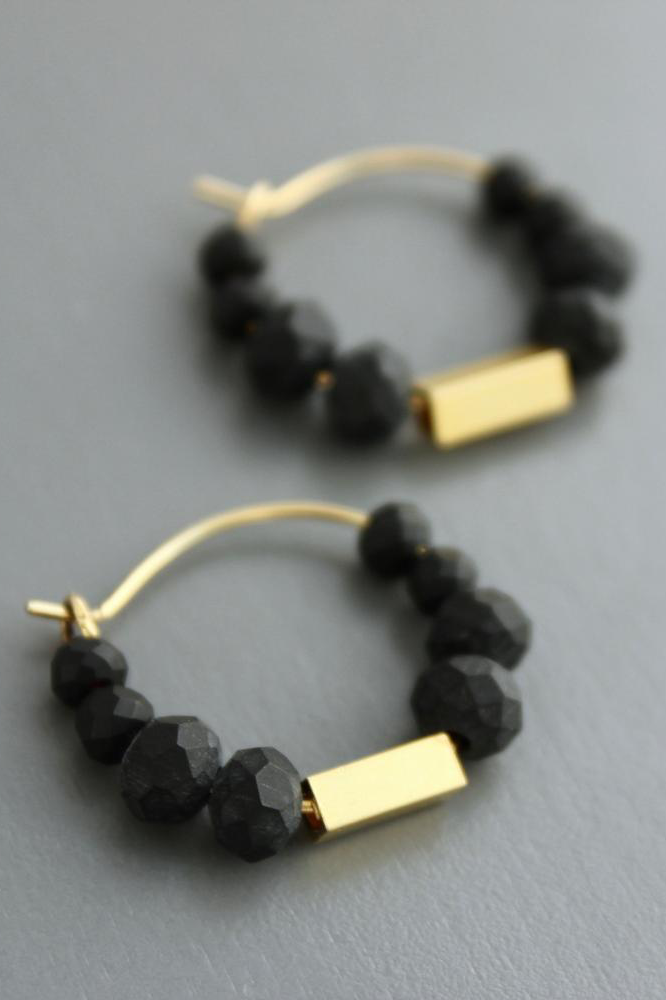 Black Agate Beaded Hoop Earrings