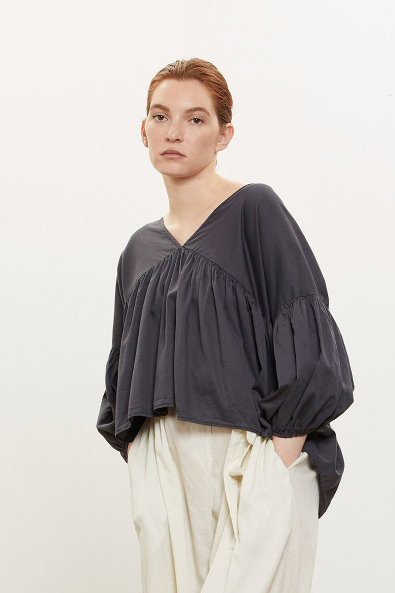Puff Top in Cotton Sateen , Black
