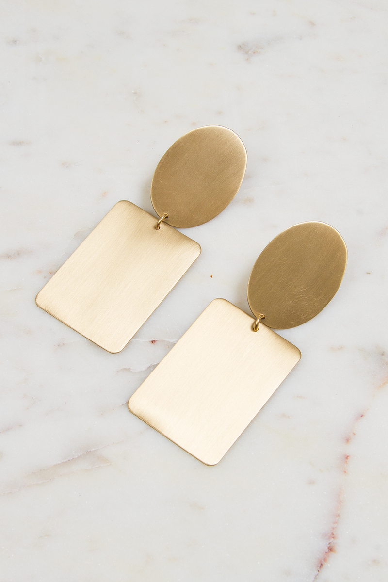 Oval & Rectangle Satin Brass Earrings