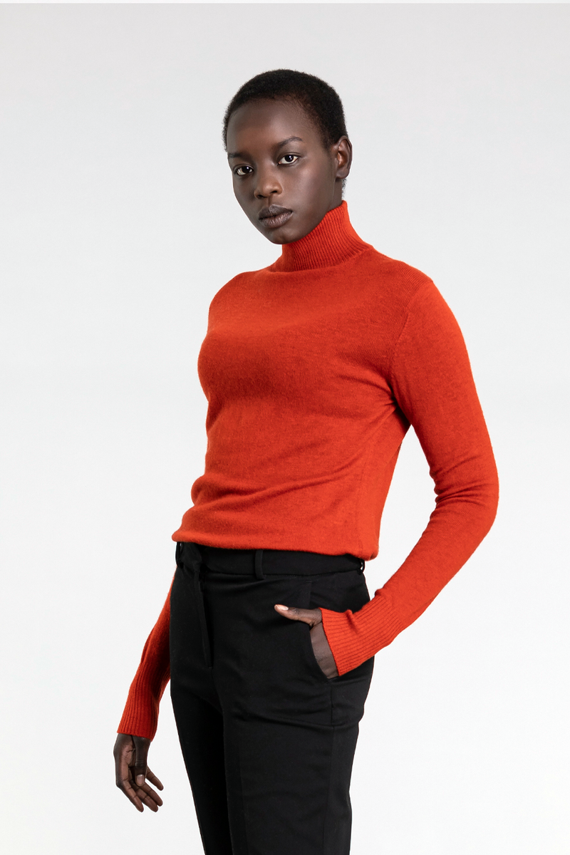 Merino Turtleneck, Burnt Orange