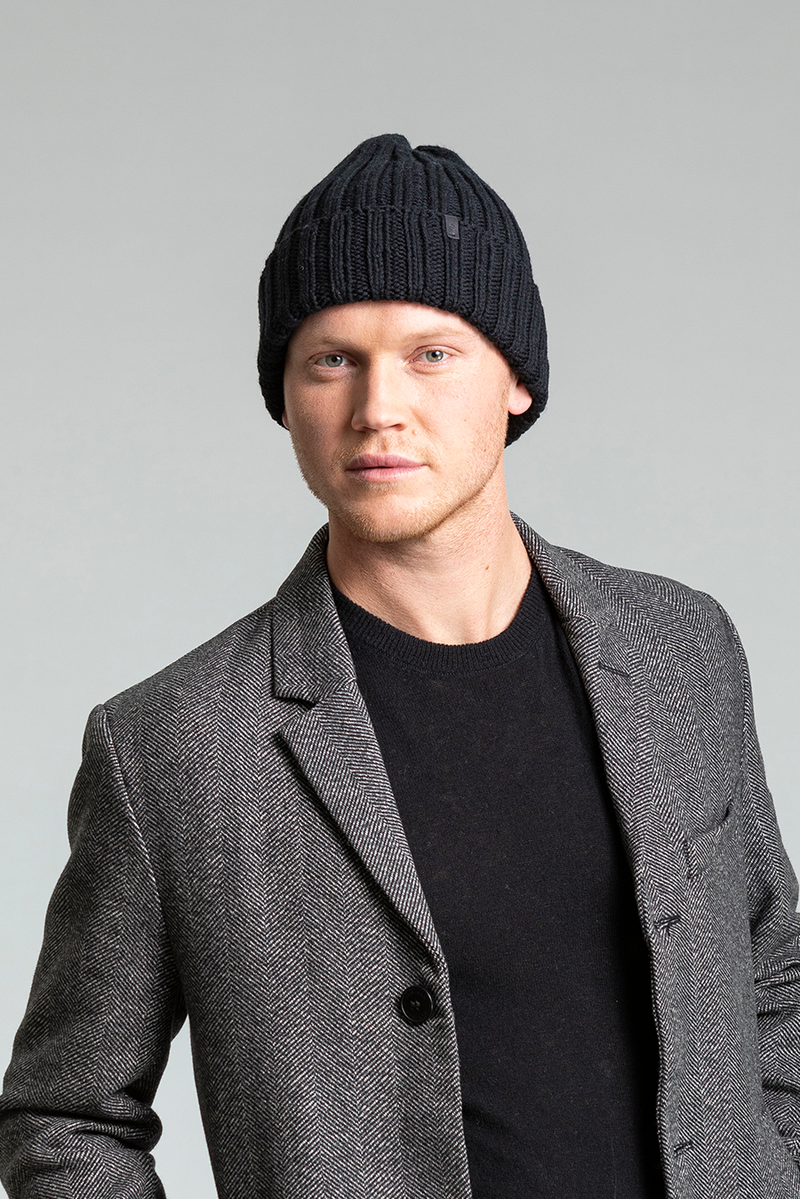 Merino Thick Rib Hat, Black