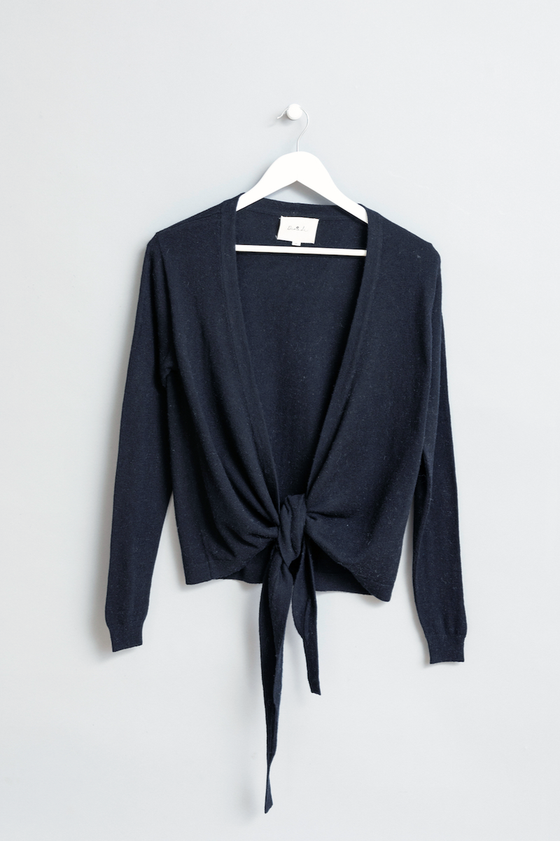 Merino Wrap Cardigan, Black
