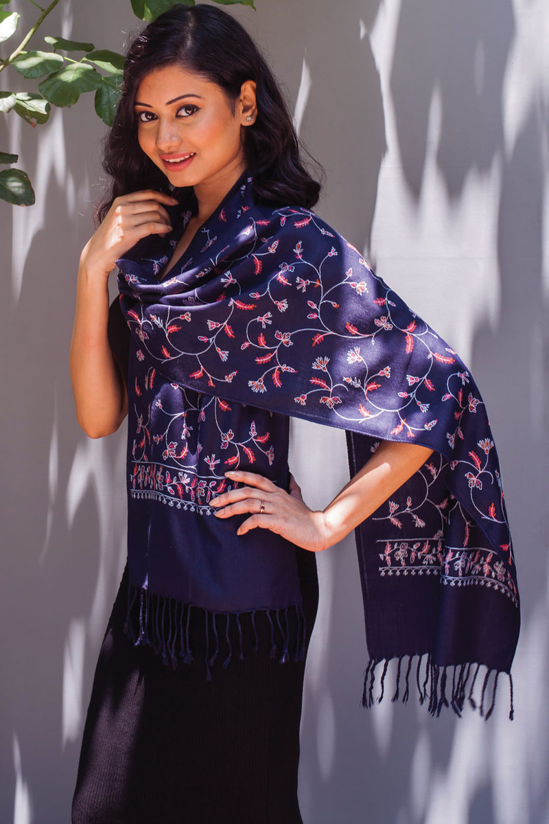 Deepali Embroidered Scarf, Navy