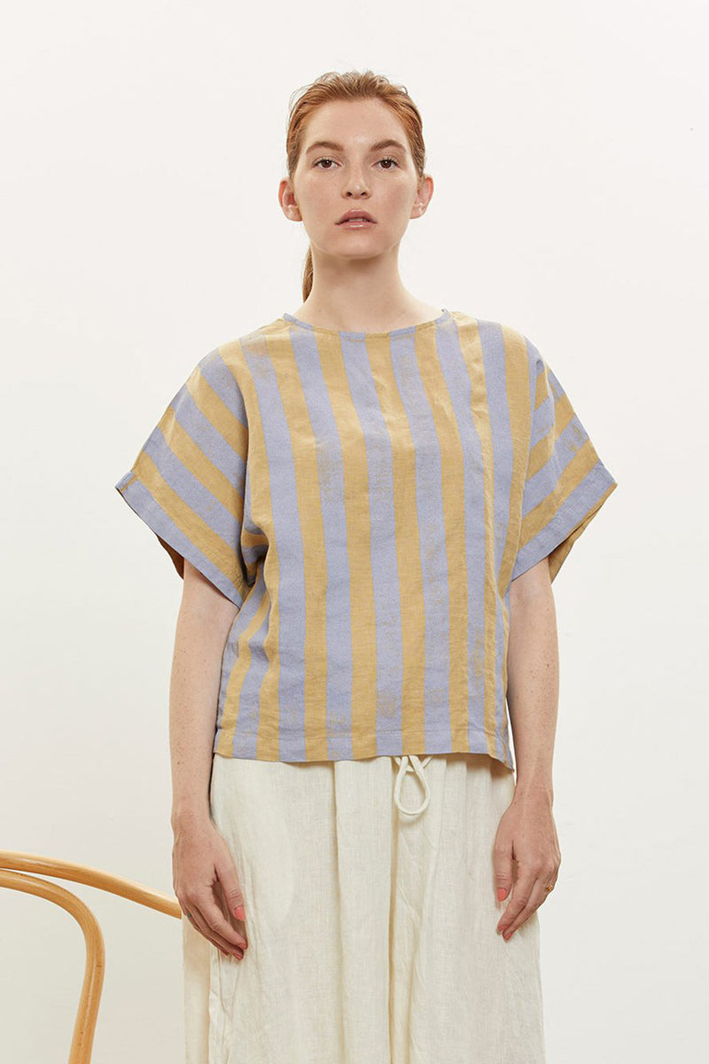 Stripe Box Top in Linen, Stripe