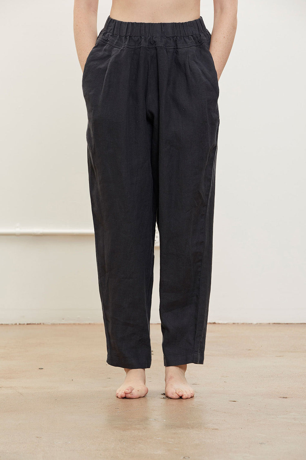 Carpenter Pants in Linen, Black