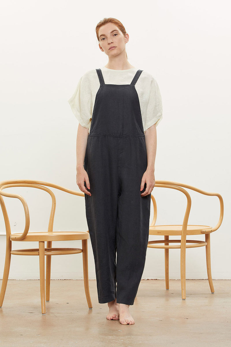 Sack Overall in Linen, Black