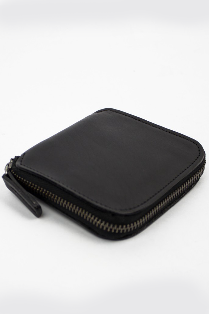 Square Zip Wallet, Black/Natural
