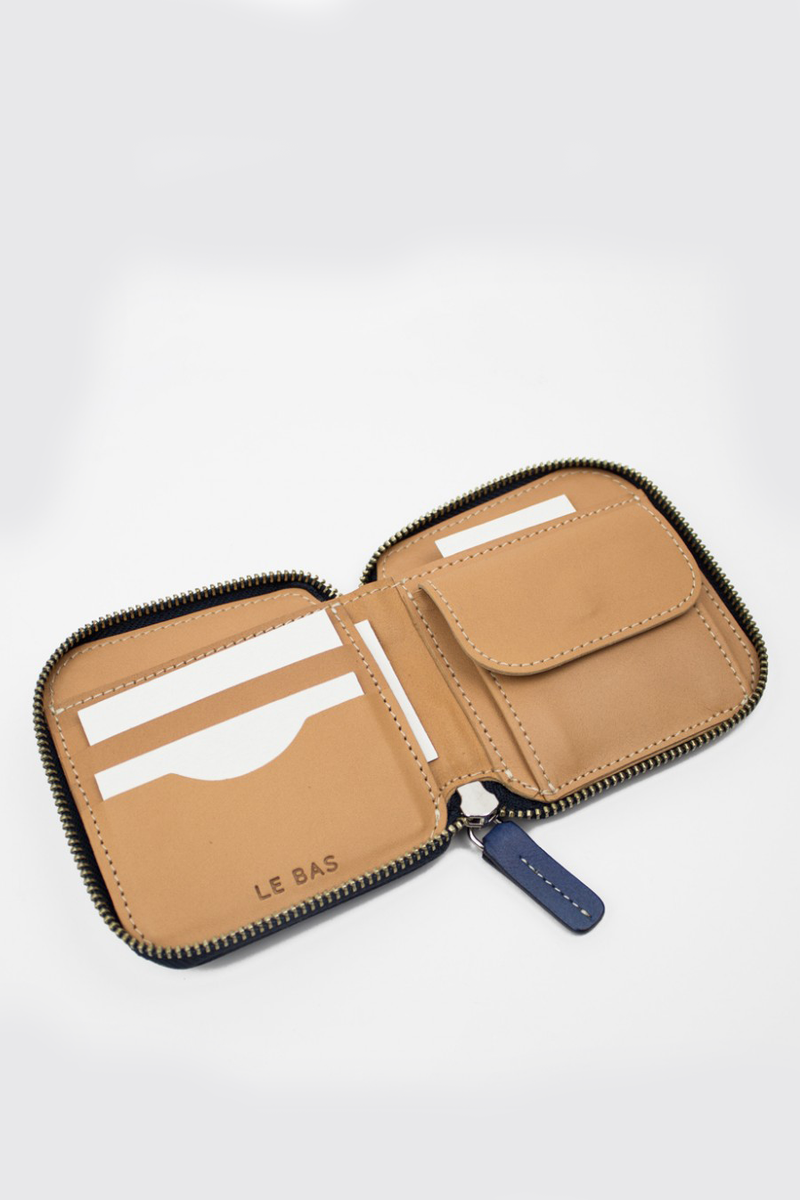 Square Zip Wallet, Royal Blue/Natural