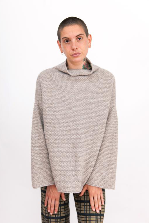 Rice Stitch Mock Turtleneck, Natural Melange