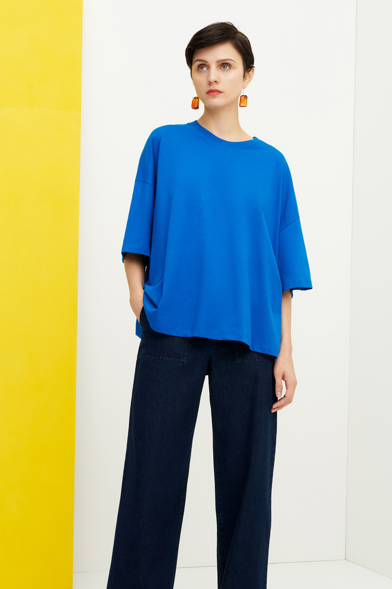 Oversized Boxy Tee, Sea Blue