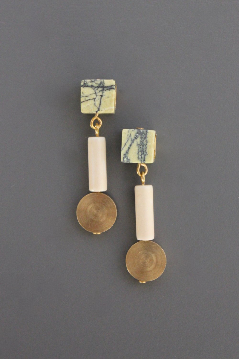 Stone and Brass Disc Drop Earrings