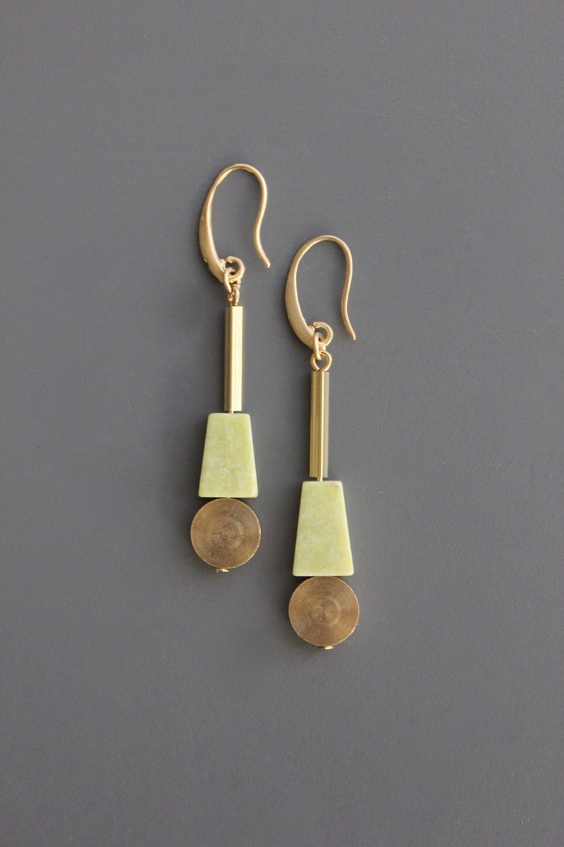 Serpentine and Brass Disc Drop Earrings