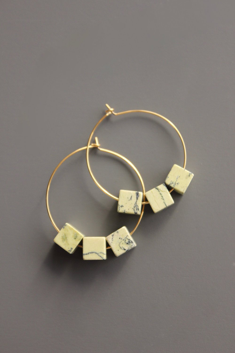 Agate Cube Hoop Earrings