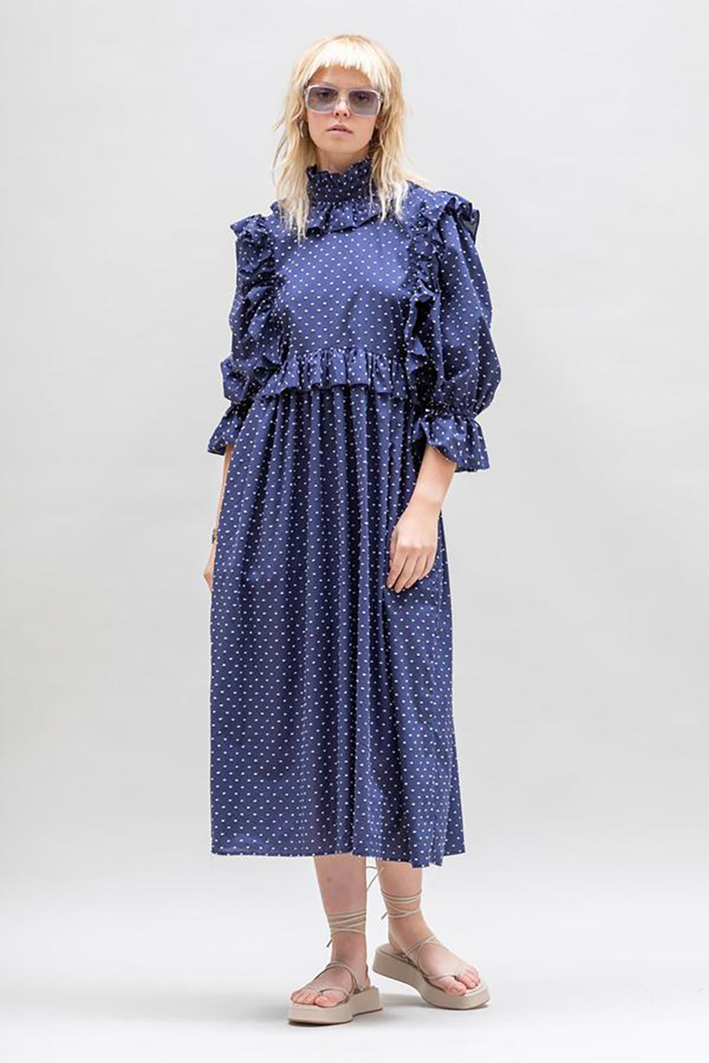 Ruffle Crazed Dress, Navy and White