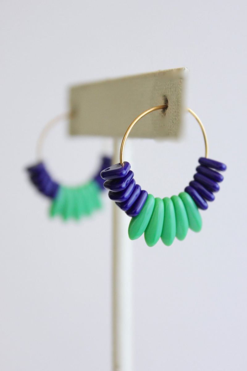 Blue and Green Glass Hoop Earrings