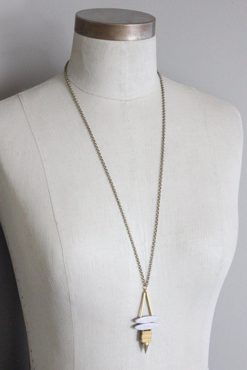 Double Magnesite and Brass Finishings Necklace