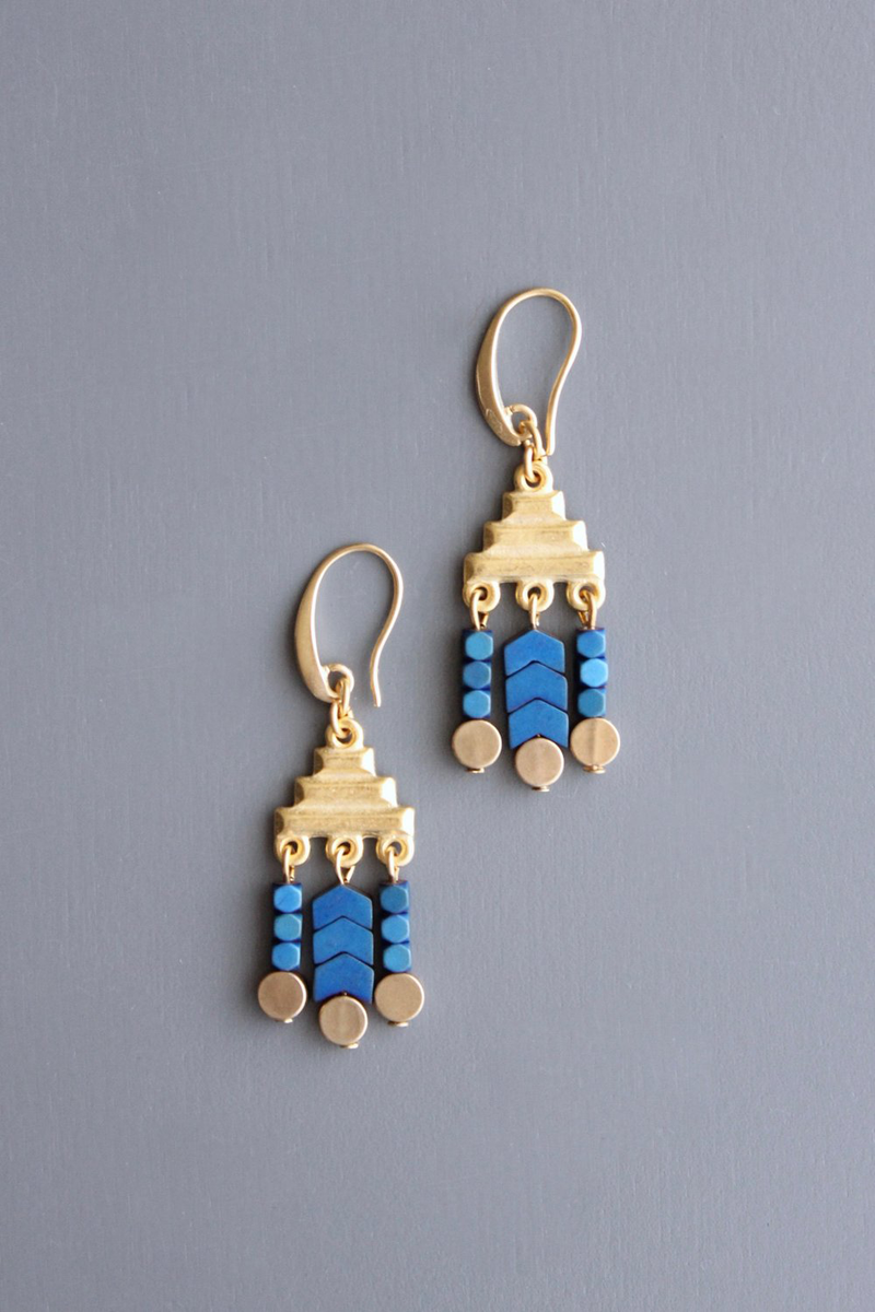 Aztec Blue Drop Earrings