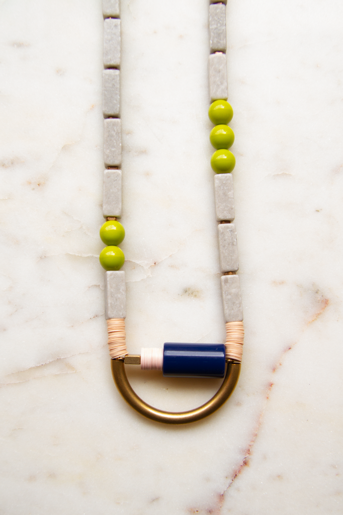 Vintage Navy Acrylic Necklace