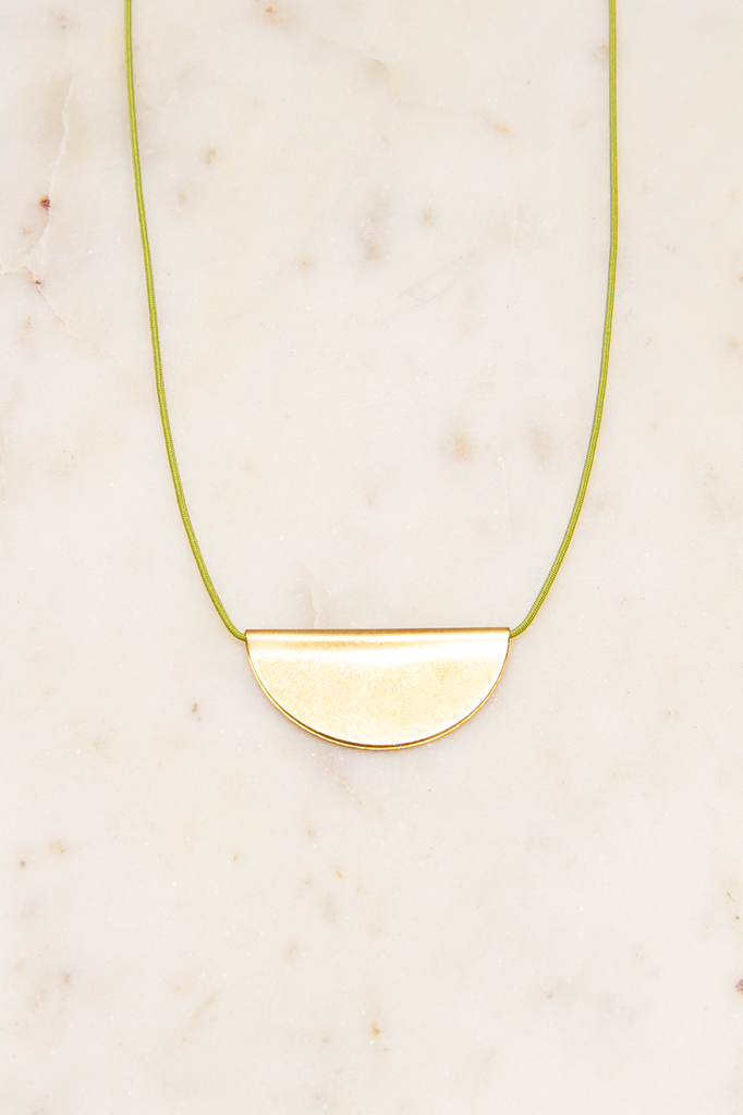 Simple Brass Half Moon Necklace